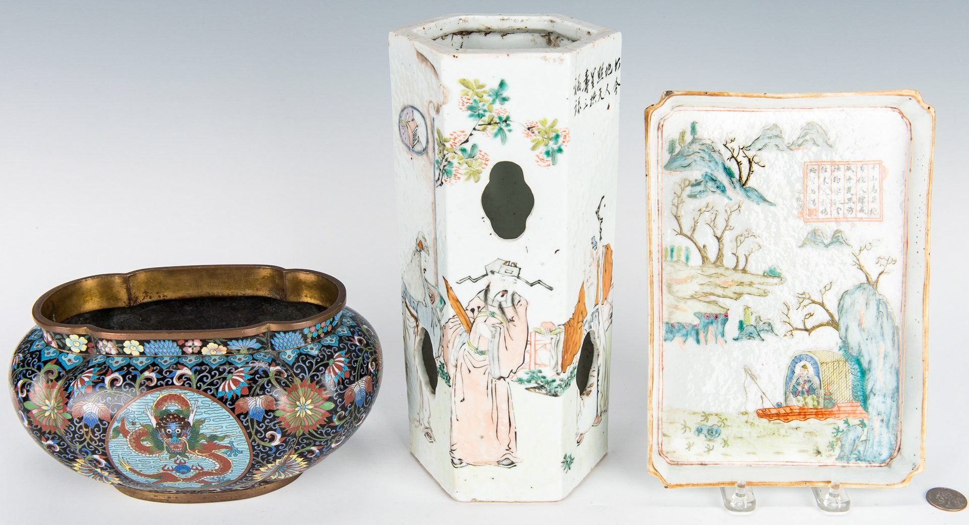 Lot 16: Cloisonne Lobed Bulb Pot, Famille Rose Tray and Hat Stand with Poem