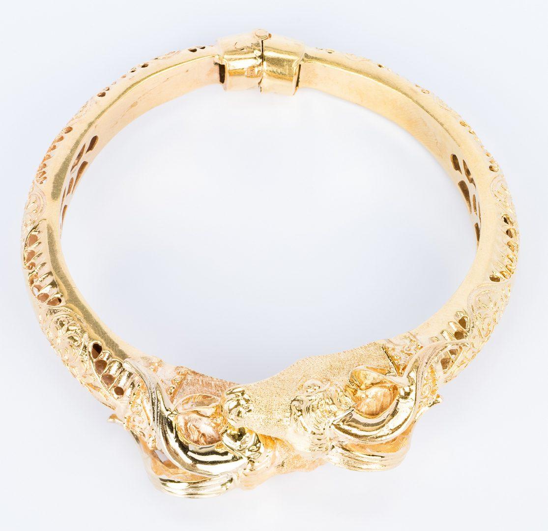 Lot 171: 18K Ram's Head Cuff Bracelet, 39 gr
