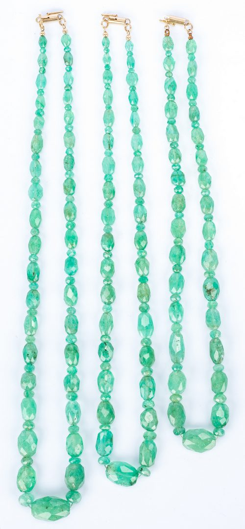 Lot 173: Triple Strand Emerald Necklace