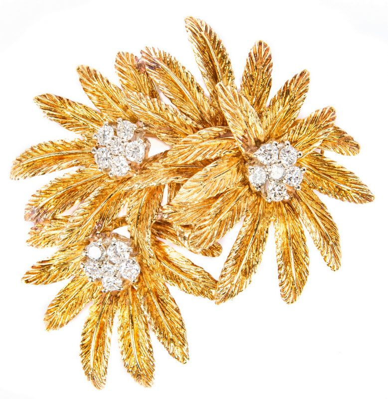 Lot 174: Tiffany 18K Diamond Flower Pin