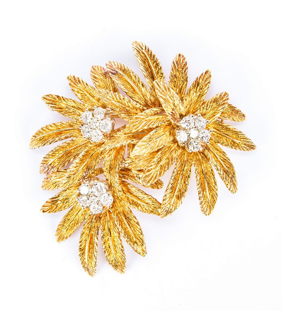 Lot 174: Tiffany 18K Diamond Flower Pin