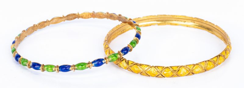 Lot 175: 2 Tiffany Gold Enamel Bangles