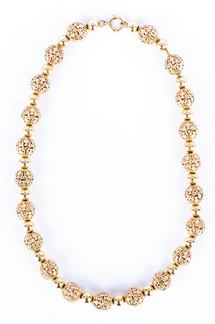 Lot 178: 2 14K Bead Necklaces incl. Tiffany
