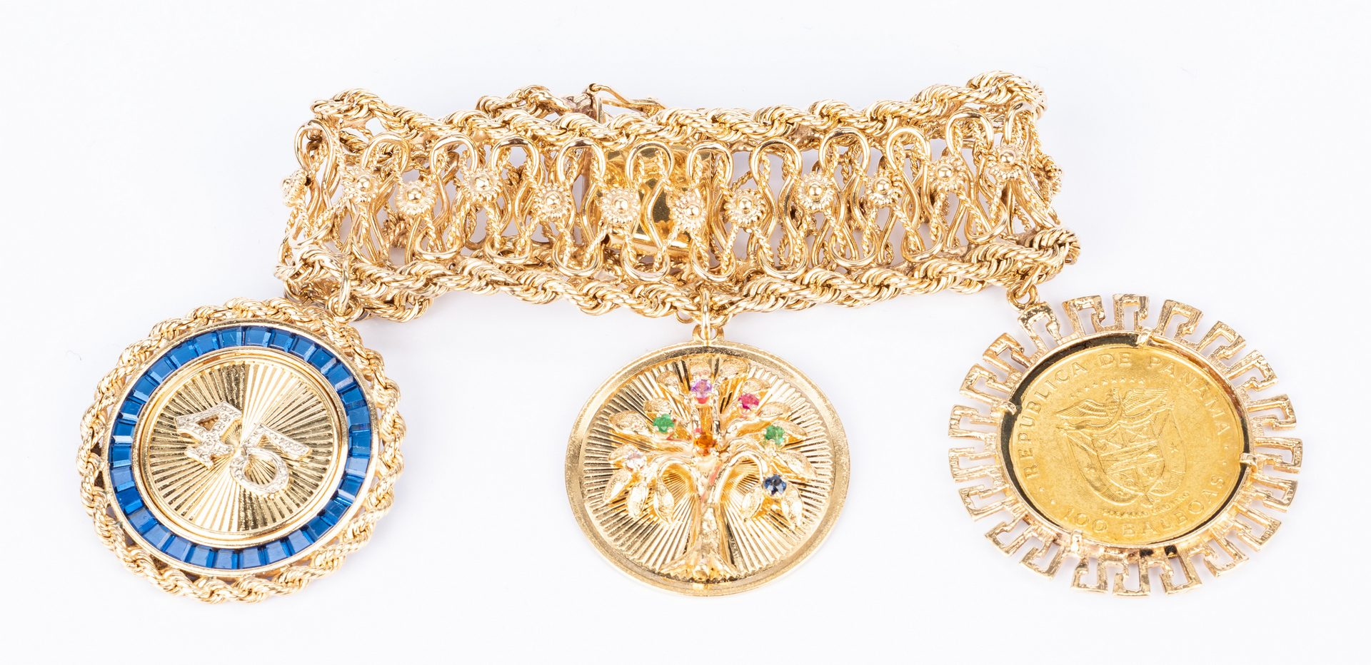 Lot 179: Wide 14K Bracelet w/ 3 Large Charms