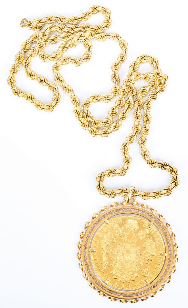 Lot 181: 18K Coin Pendant Necklace