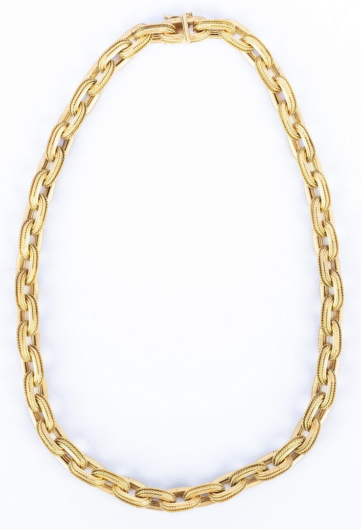 Lot 183: Italian 14K Satin Link Necklace, 58 grams