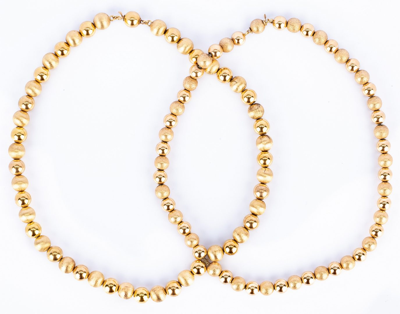 Lot 186: Set of 2 14K Bead Necklaces