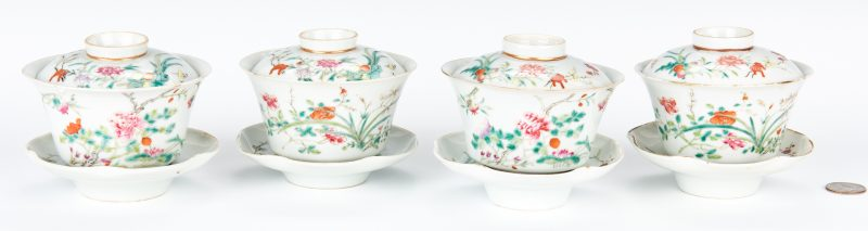 Lot 18: 4 Chinese Famille Rose Porcelain Tea Cups w/ Covers