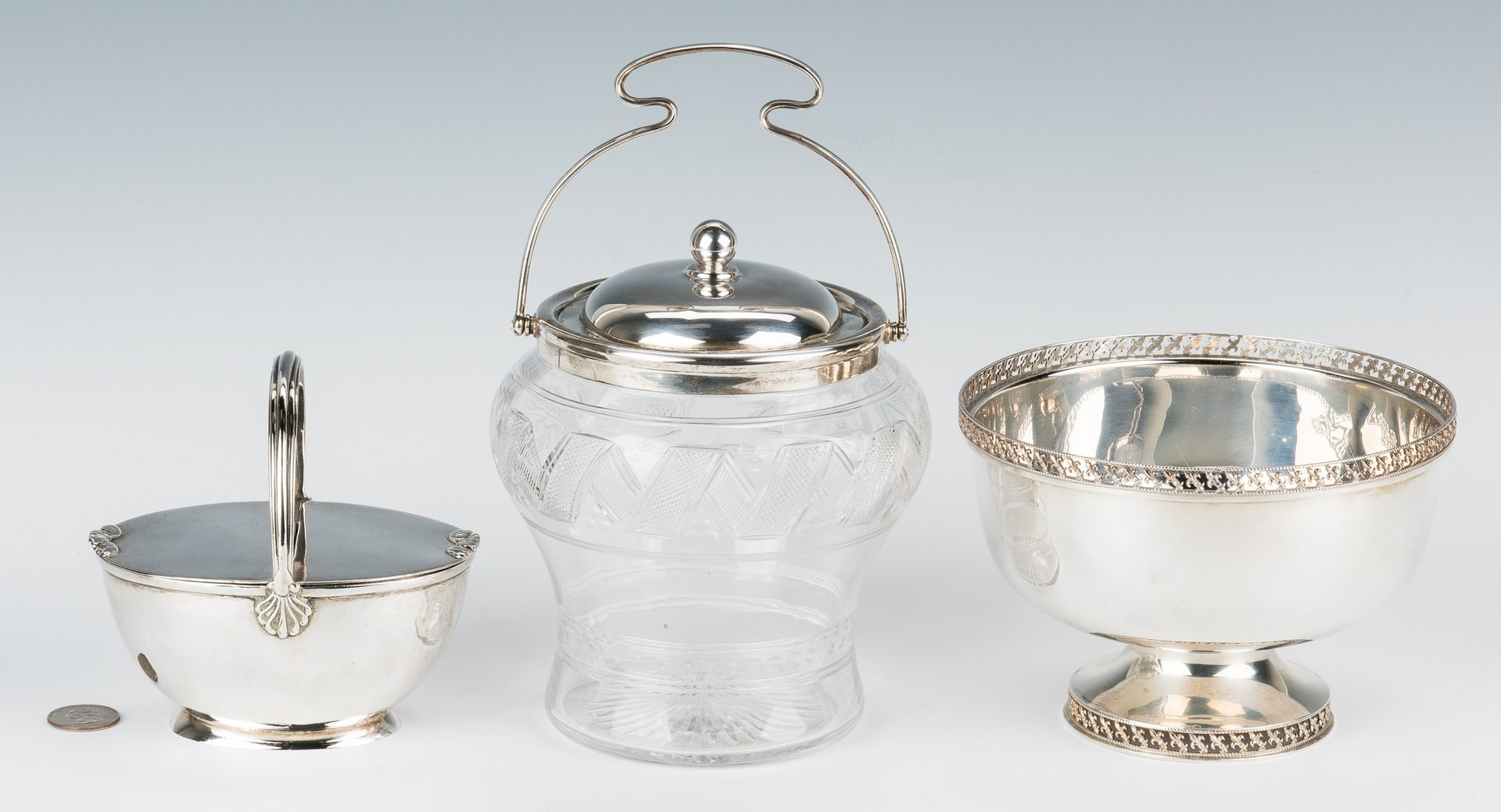 Lot 192: 3 English Sterling Items: Silver Sugar Bucket, Rose Bowl & Biscuit Barrel