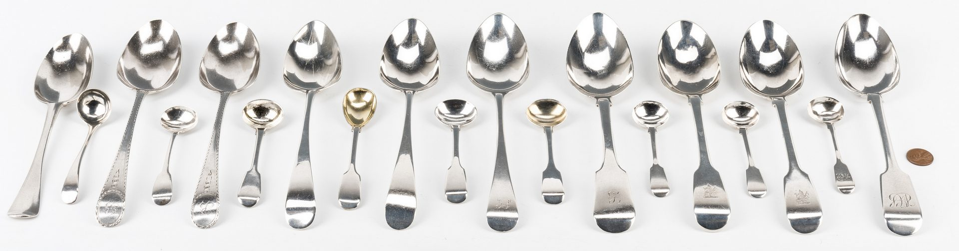 Lot 193: 19 sterling spoons incl. Bateman, Geo. II, etc.