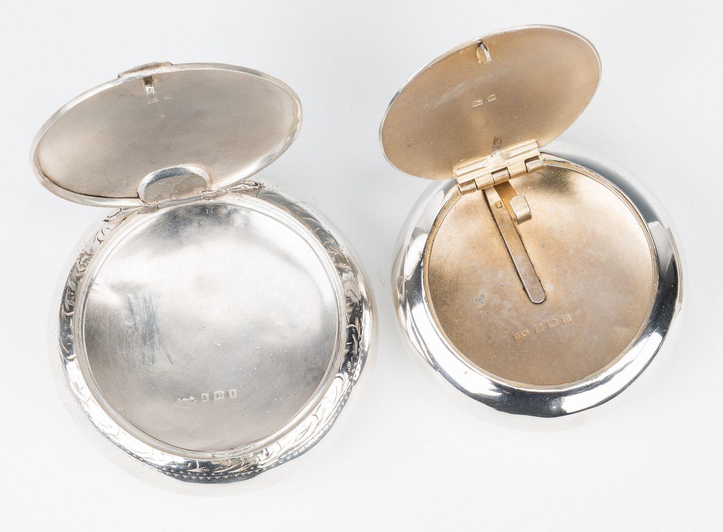 Lot 196: 4 English & Irish Sterling Silver Snuff Boxes