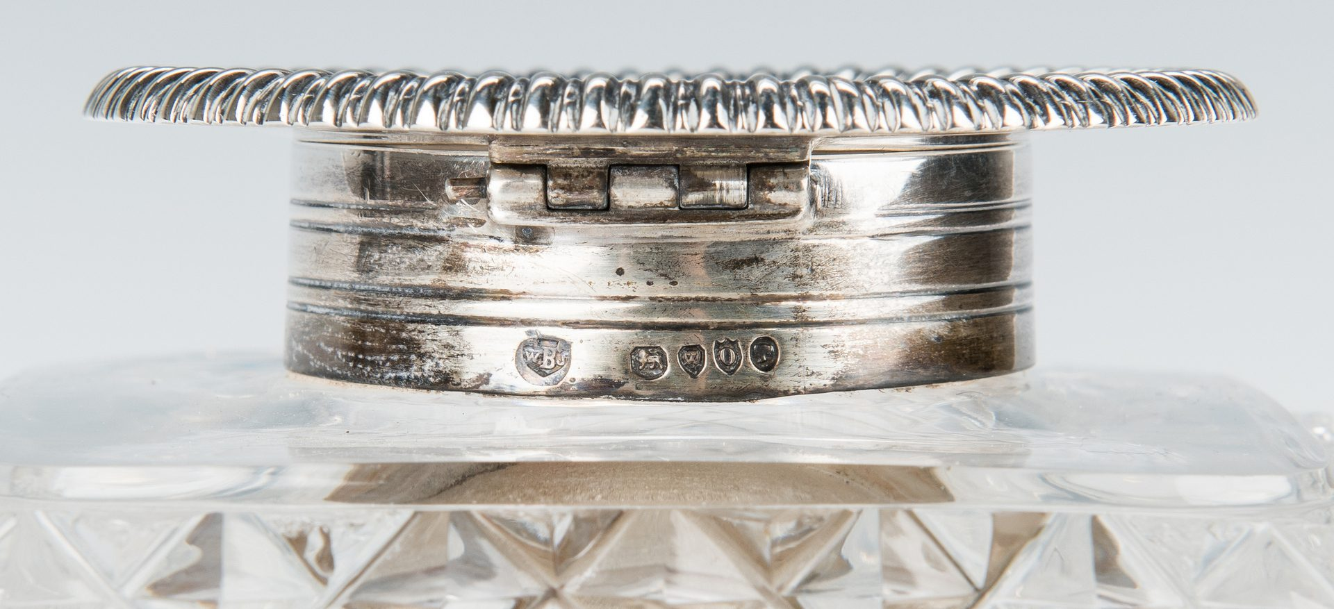 Lot 202: English Sterling & Crystal Inkstand