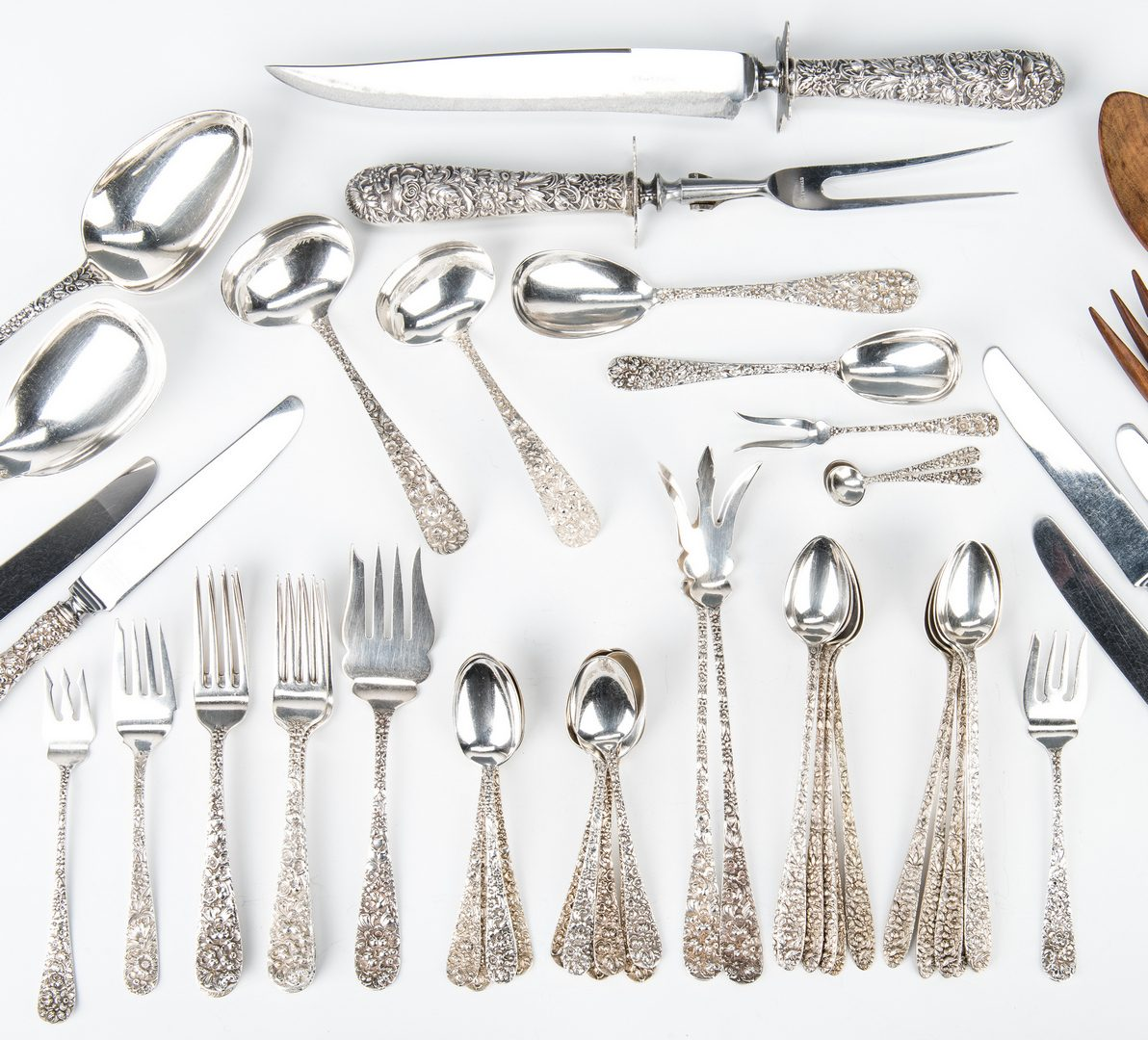 Lot 211: 52 Pcs Repousse Sterling Flatware incl. Kirk