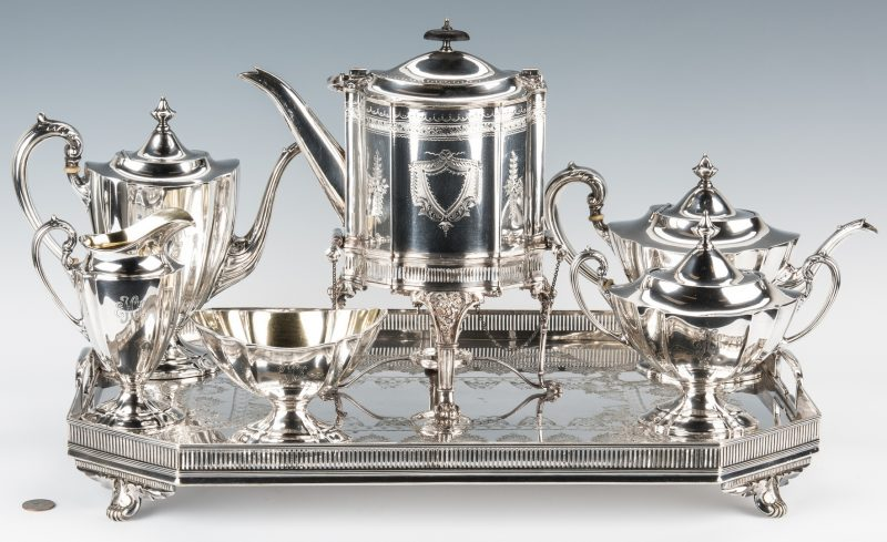 Lot 214: International Sterling Tea Set, 5 pcs. + Tray & Kettle