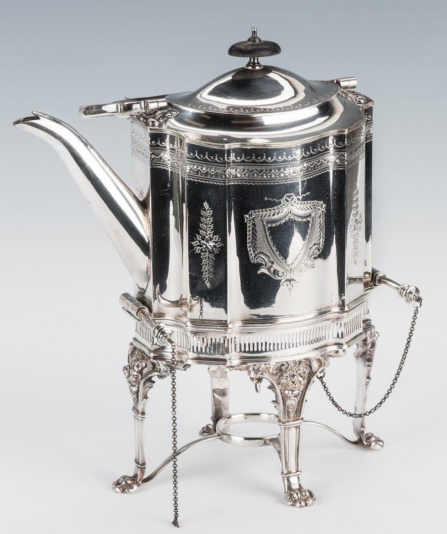 Lot 214: International Sterling Tea Set, 5 pcs. + Tray & Kettle