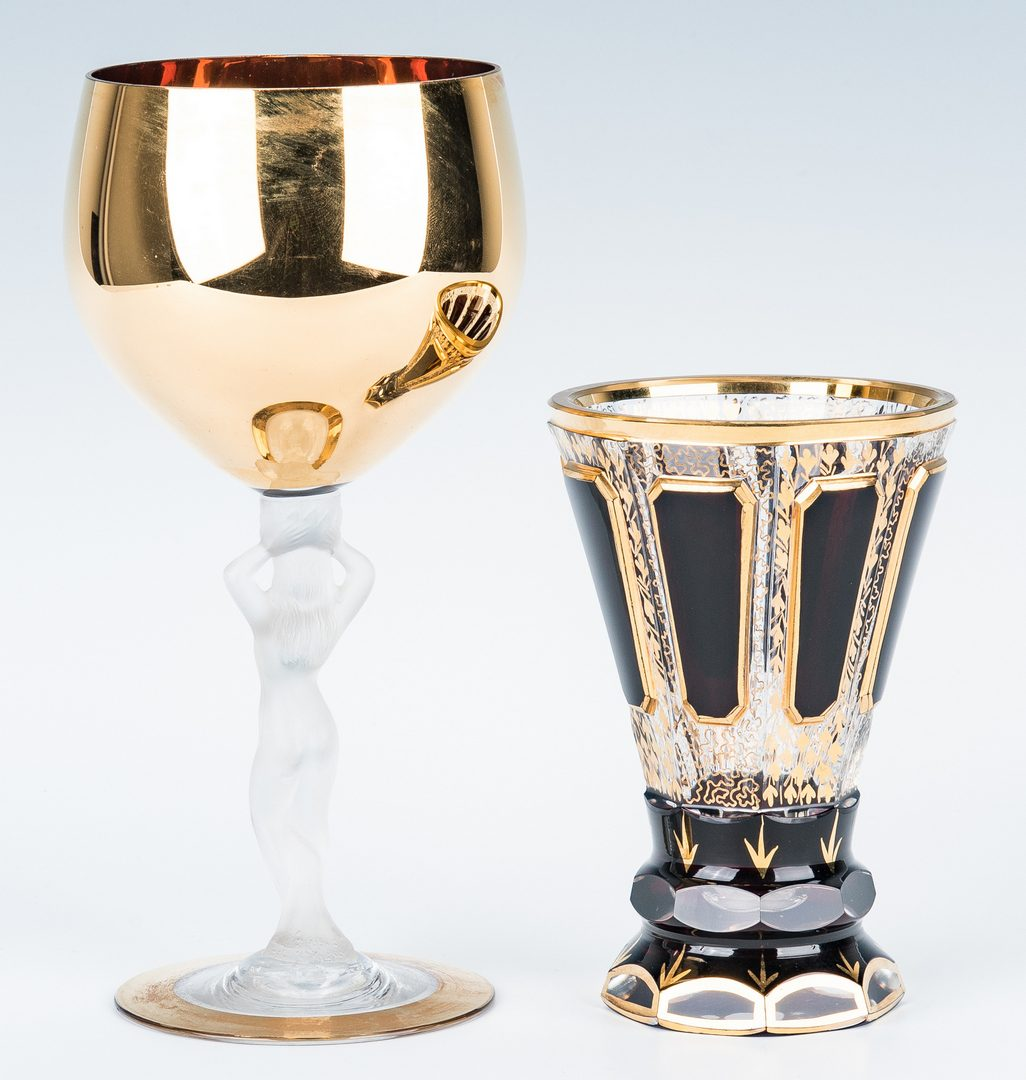 Lot 216: Collection of 8 Art & Cut Glass Goblets