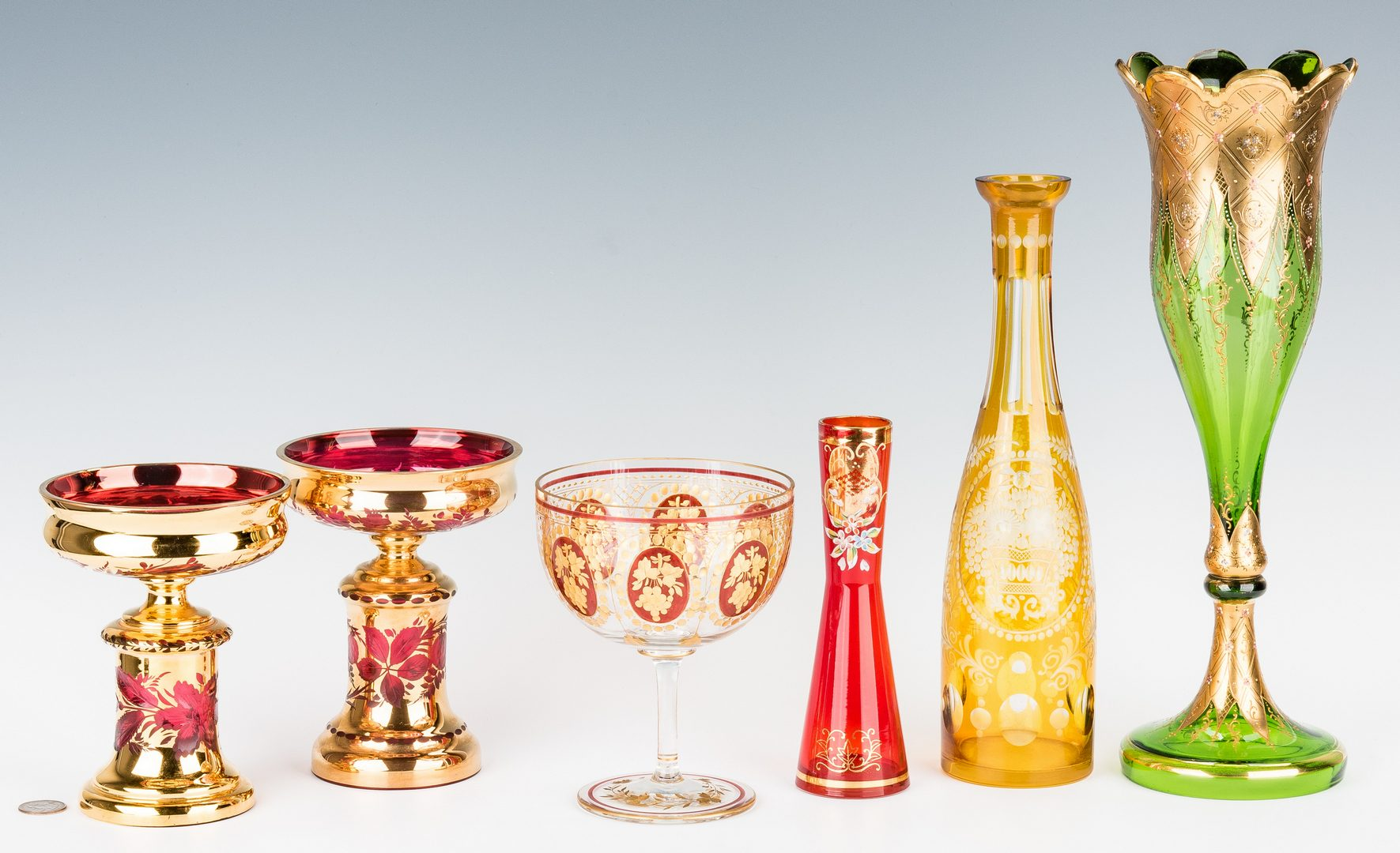 Lot 217: 6 Gilt & Enameled Art Glass Items