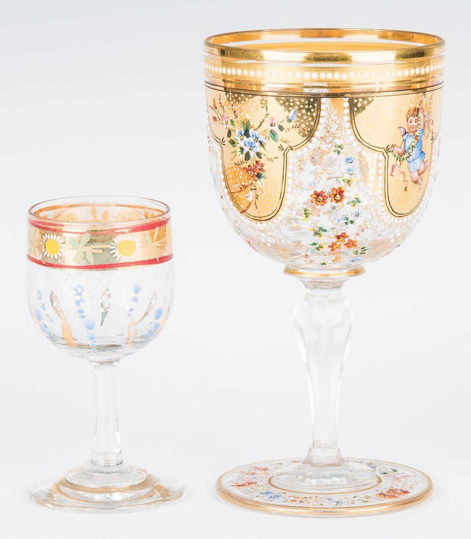 Lot 218: 5 Gilt & Enameled Glass Items, incl. Portrait