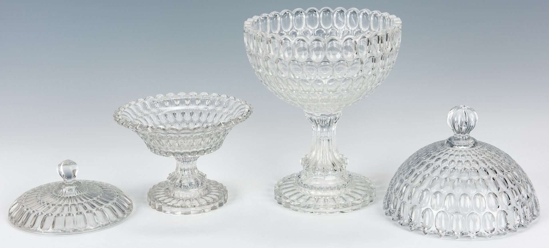 Lot 219: 3 early Thumbprint Argus Pittsburgh Glass Pieces