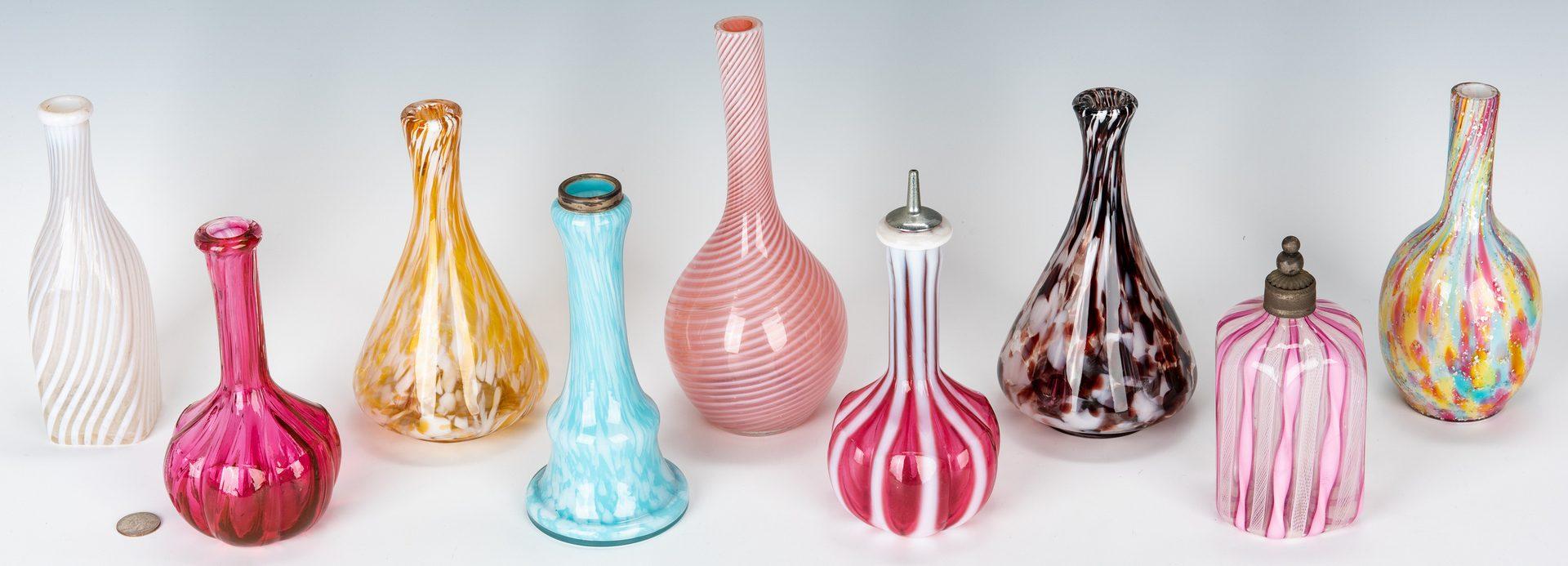 Lot 221: Collection of 15 Art Glass Barber Bottles