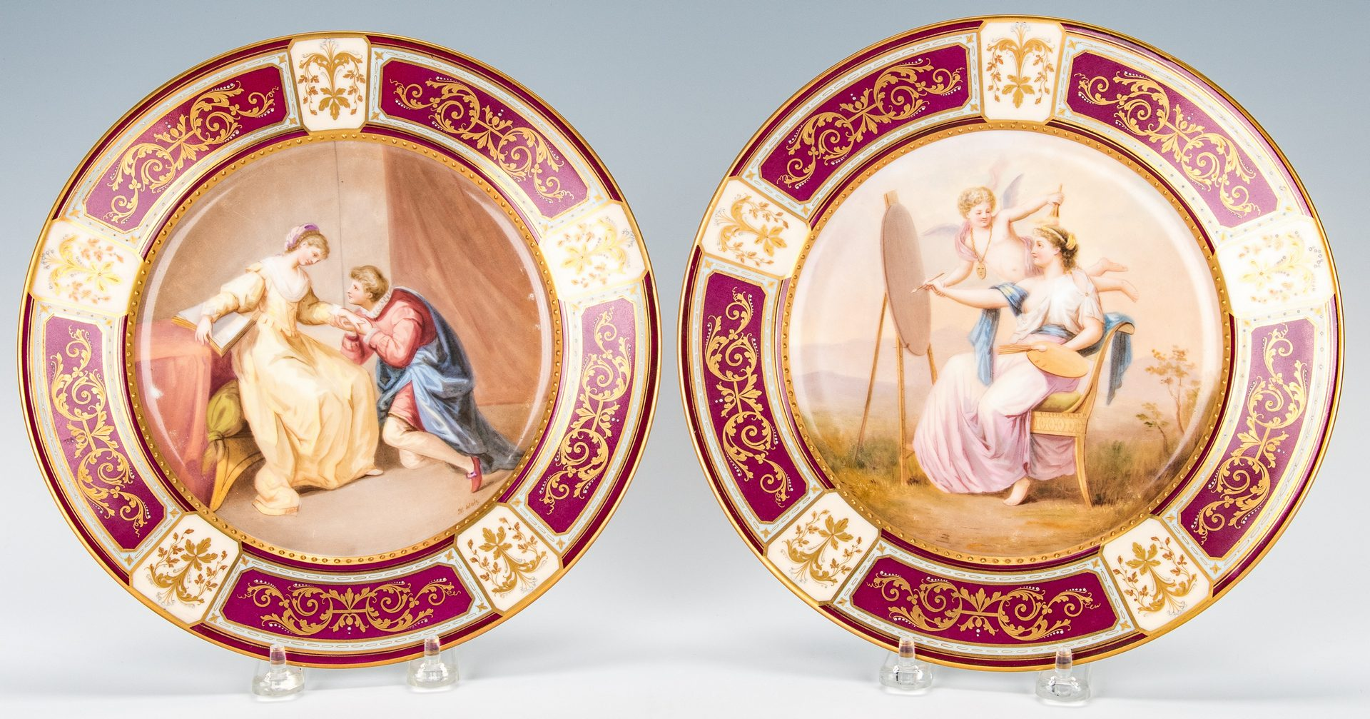 Lot 224: Pr. Royal Vienna Style Cabinet Plates signed Weh
