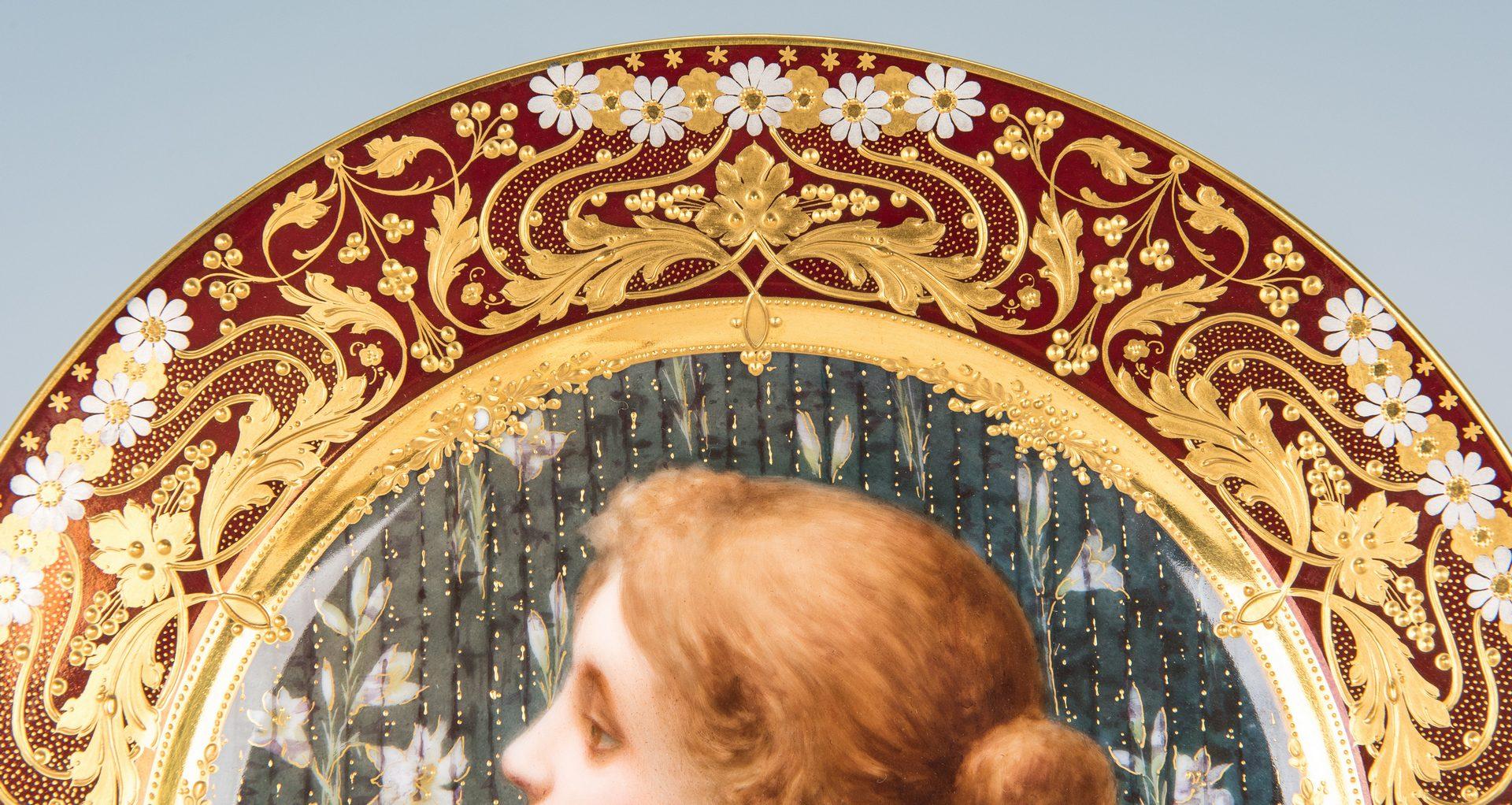 """Lot 225: Royal Vienna Style Art Nouveau Cabinet Plate, """"Cacilie"""""""