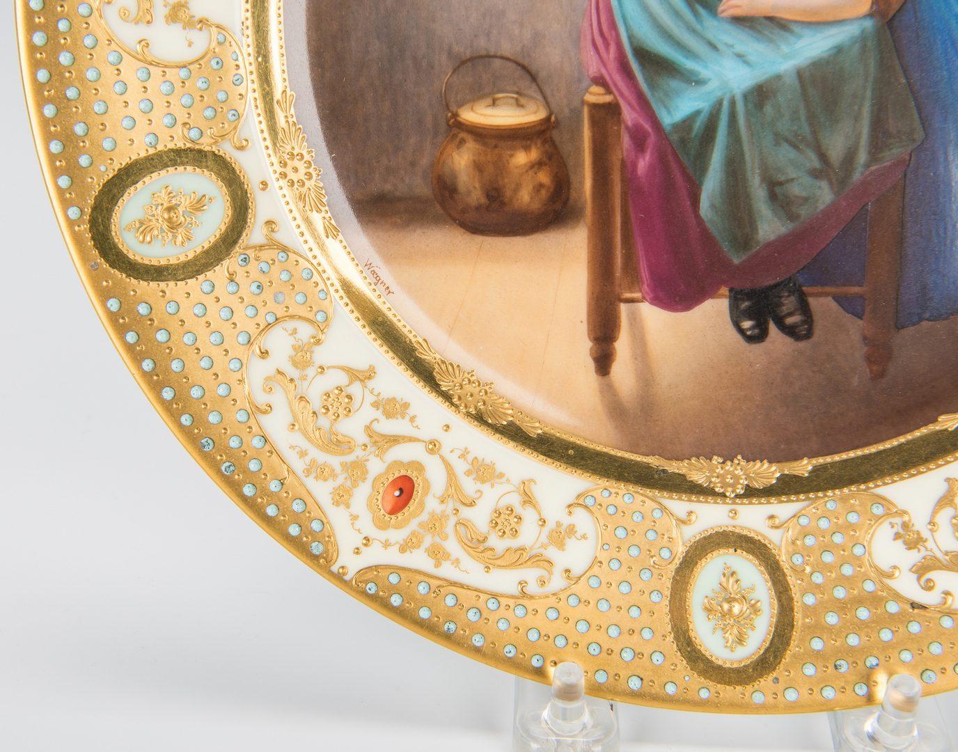 """Lot 228: German Porcelain Cabinet Plate signed Wagner, """"Eve's Daughter"""""""