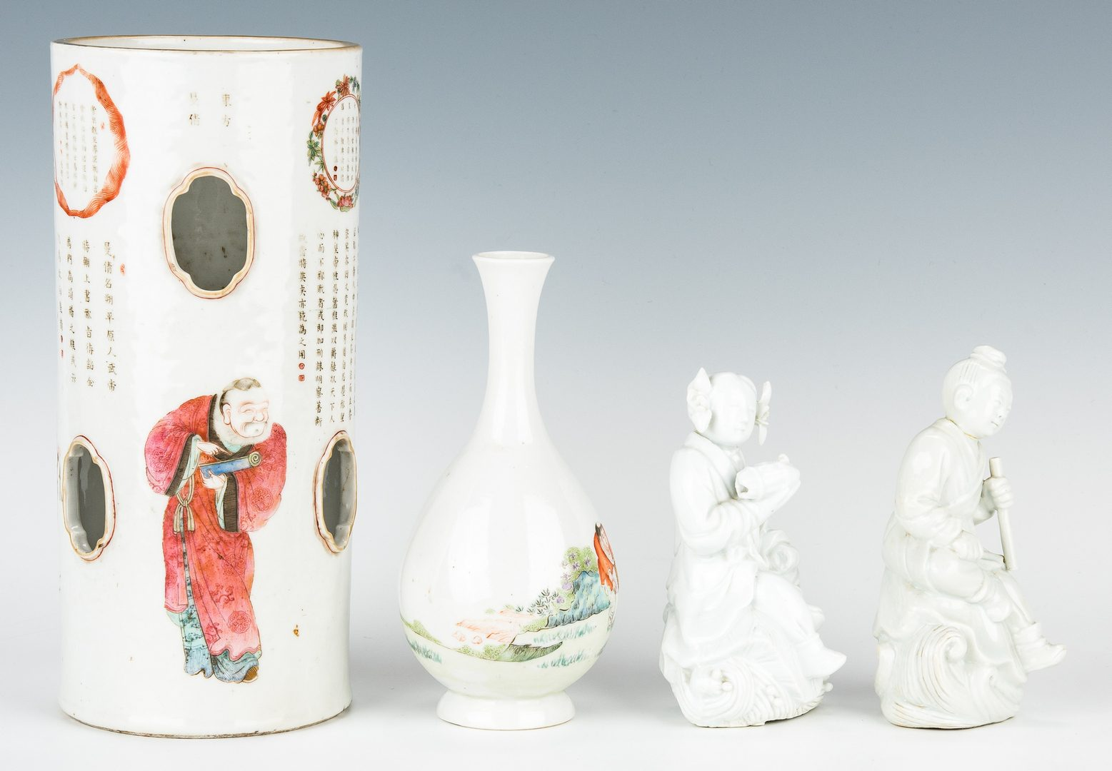 Lot 22: Chinese Hat Stand, Vase and Blanc de Chine Figures, 4 items