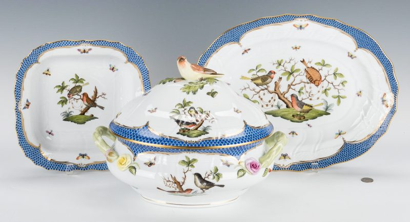 Lot 230: Herend Rothschild Bird Blue Tureen; Underplate; Serving Dish