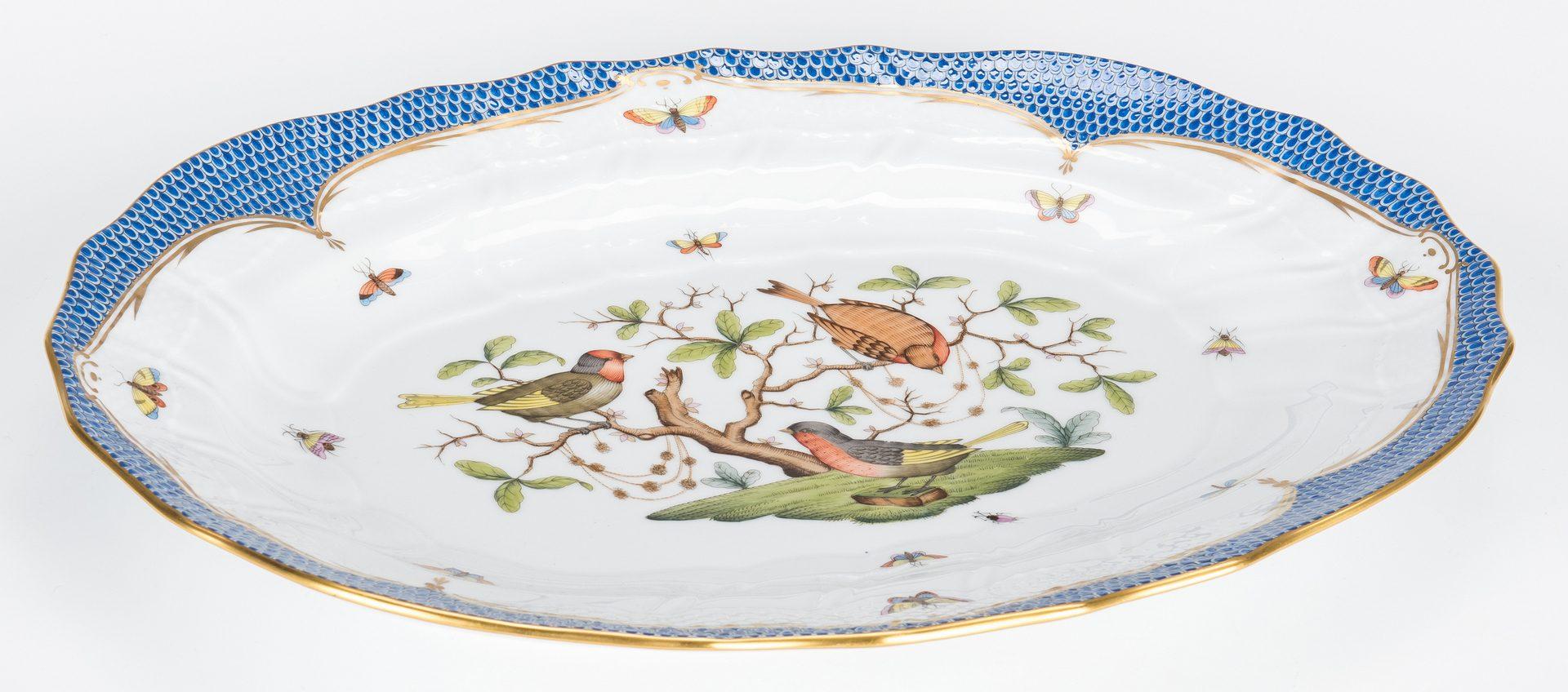 Lot 230: Herend Rothschild Bird Blue Tureen; Underplate; Serving Dish