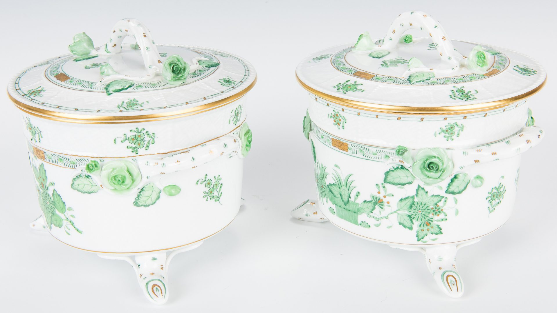 Lot 234: Herend Porcelain Cachepot & 2 Herend Biscuit Jars