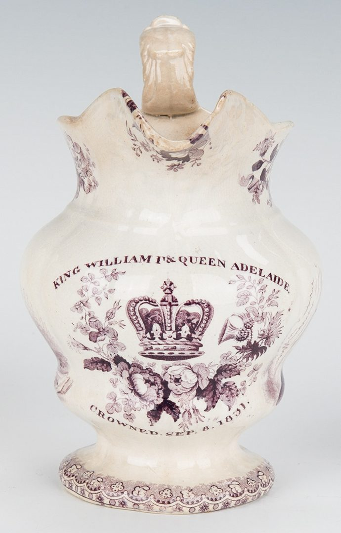 Lot 241: 7 Historical Transferware Pitchers incl. Waterloo, Farmers Arms