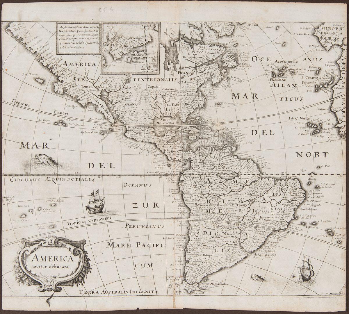 Lot 244: 3 Early Maps of America, incl. Merian, De Bry