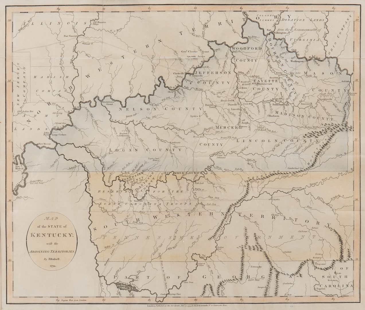 Lot 246: Map of Kentucky, 1794, J. Russell, showing Tennessee as SW Territory
