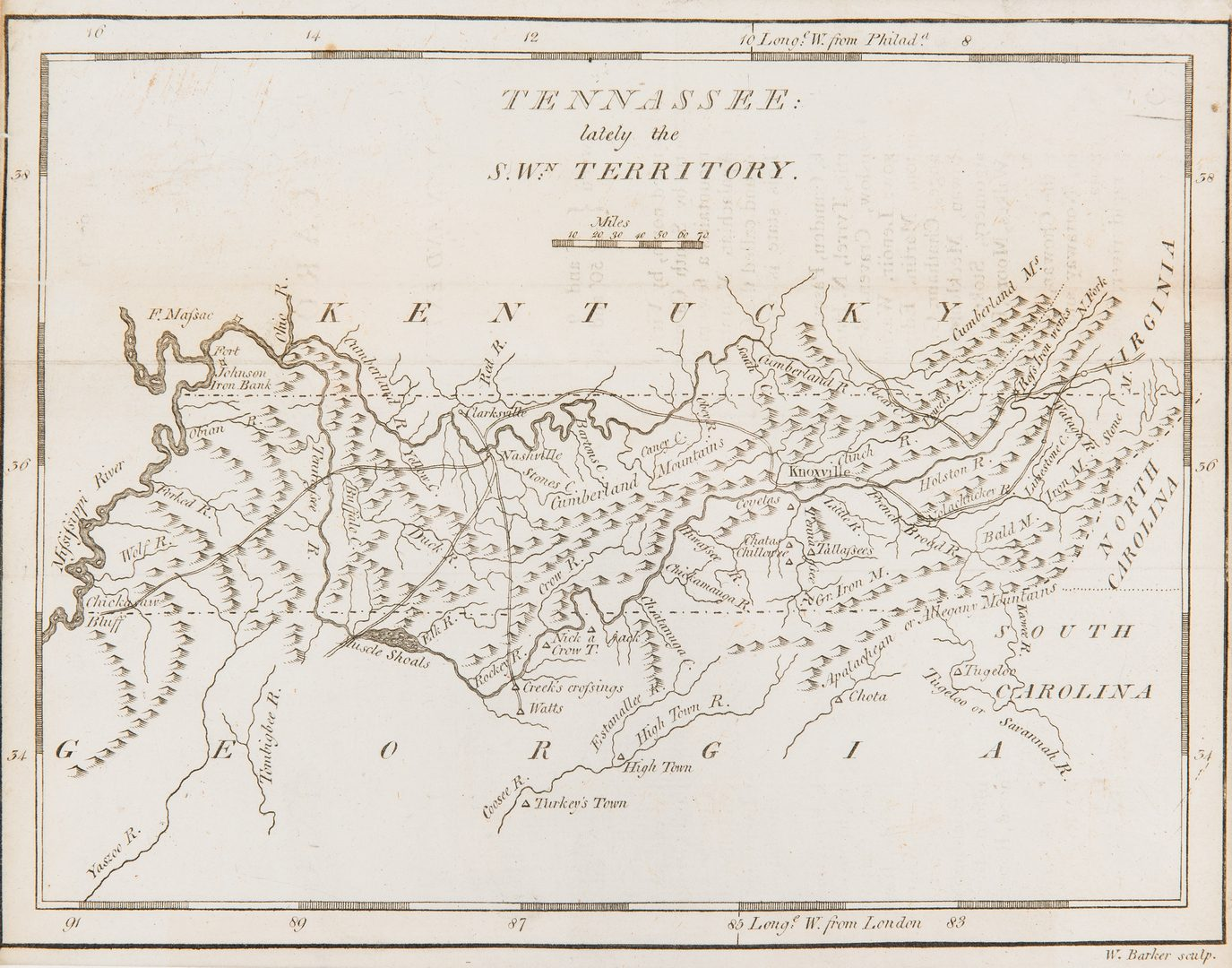 "Lot 248: Carey 1796 Map of ""Tennassee"""