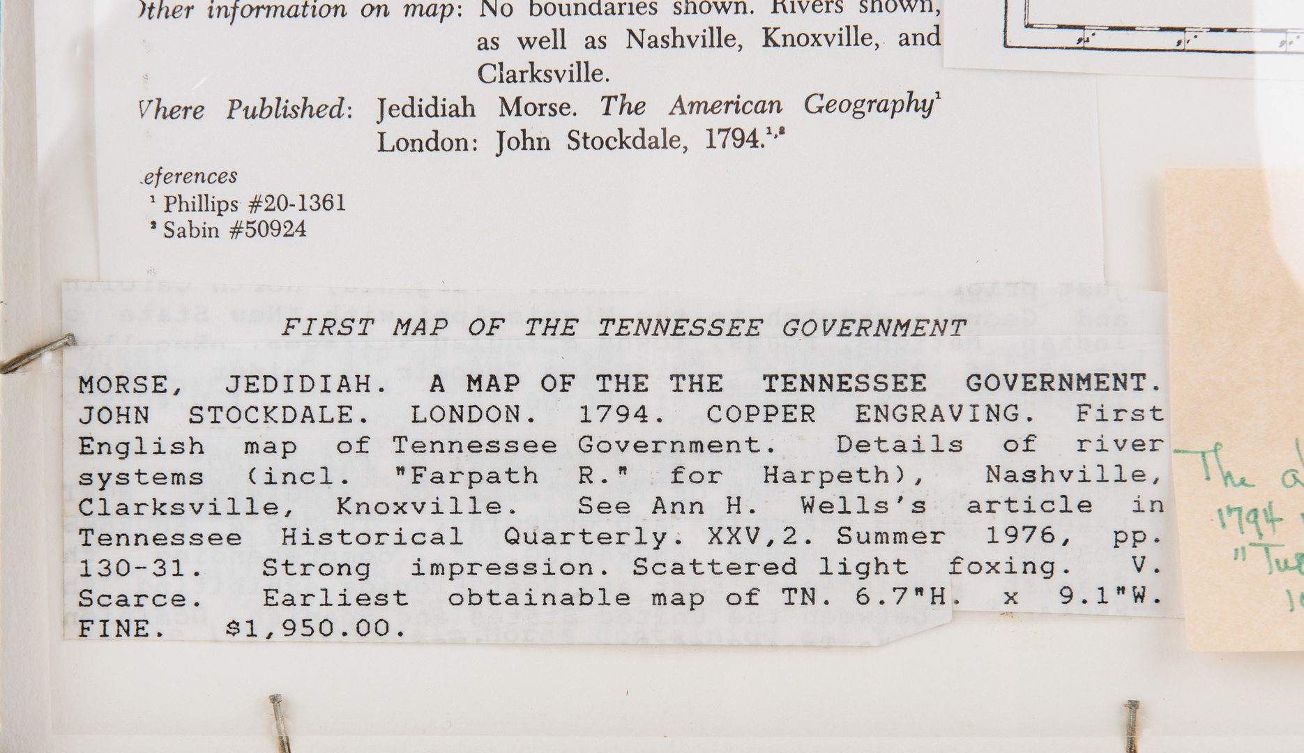 Lot 249: Rare and Early Map of TN, 1794 Morse