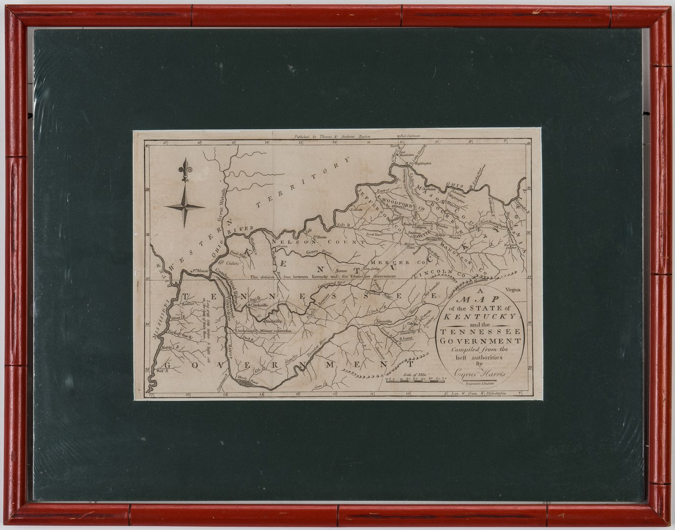 Lot 251: Kentucky and Tennessee Map, 1796 Harris