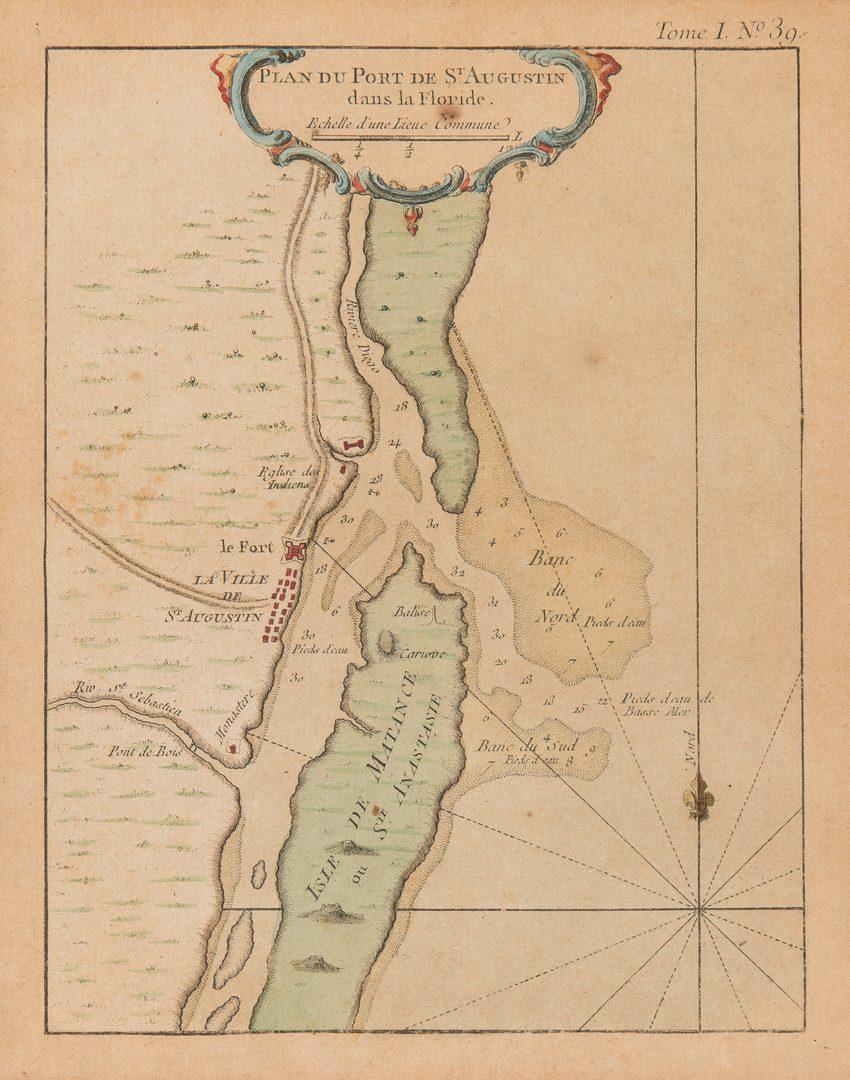 Lot 253: 3 Bellin Maps, incl. Louisiana, Florida, 1760s