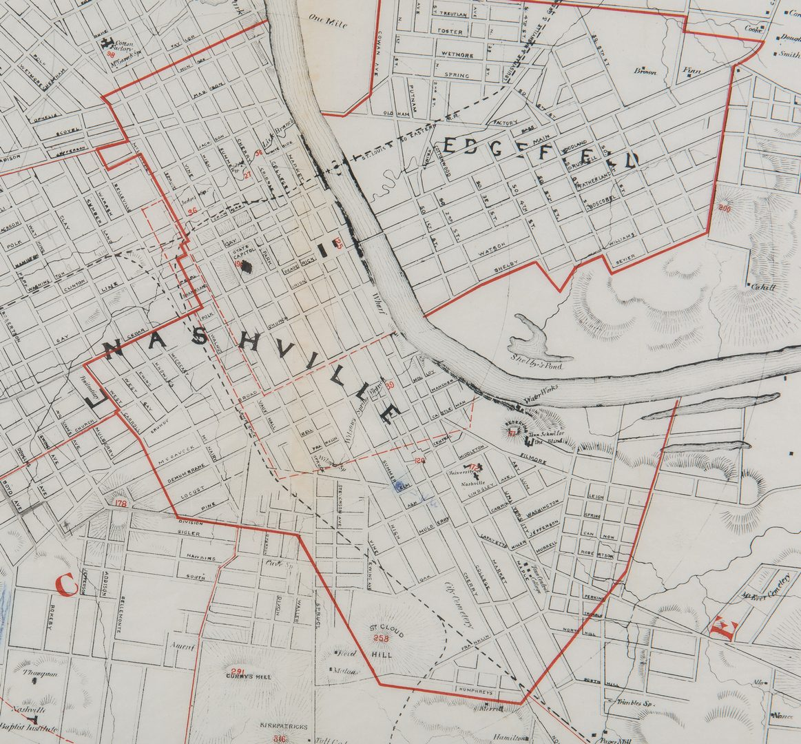 Lot 256: Nashville & Vicinity Map, 1879, Foster