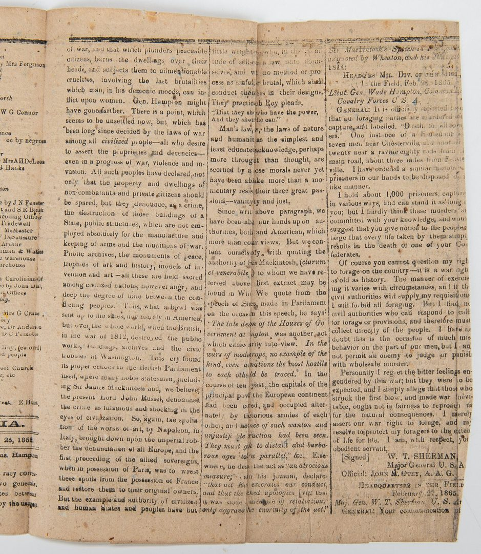 Lot 257: 3 Civil War era Newspapers, incl. Columbia Phoenix