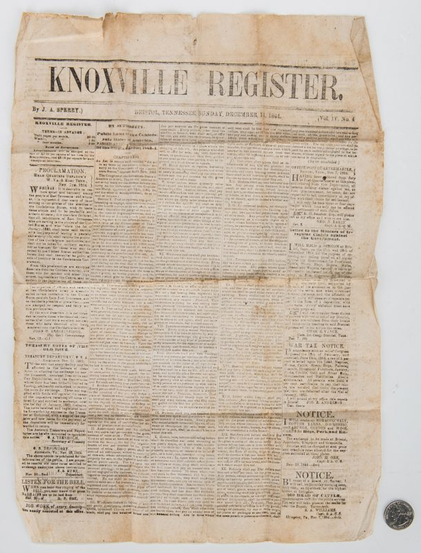 Lot 258: Knoxville Register Newspaper w/Battle of Franklin, Civil War News