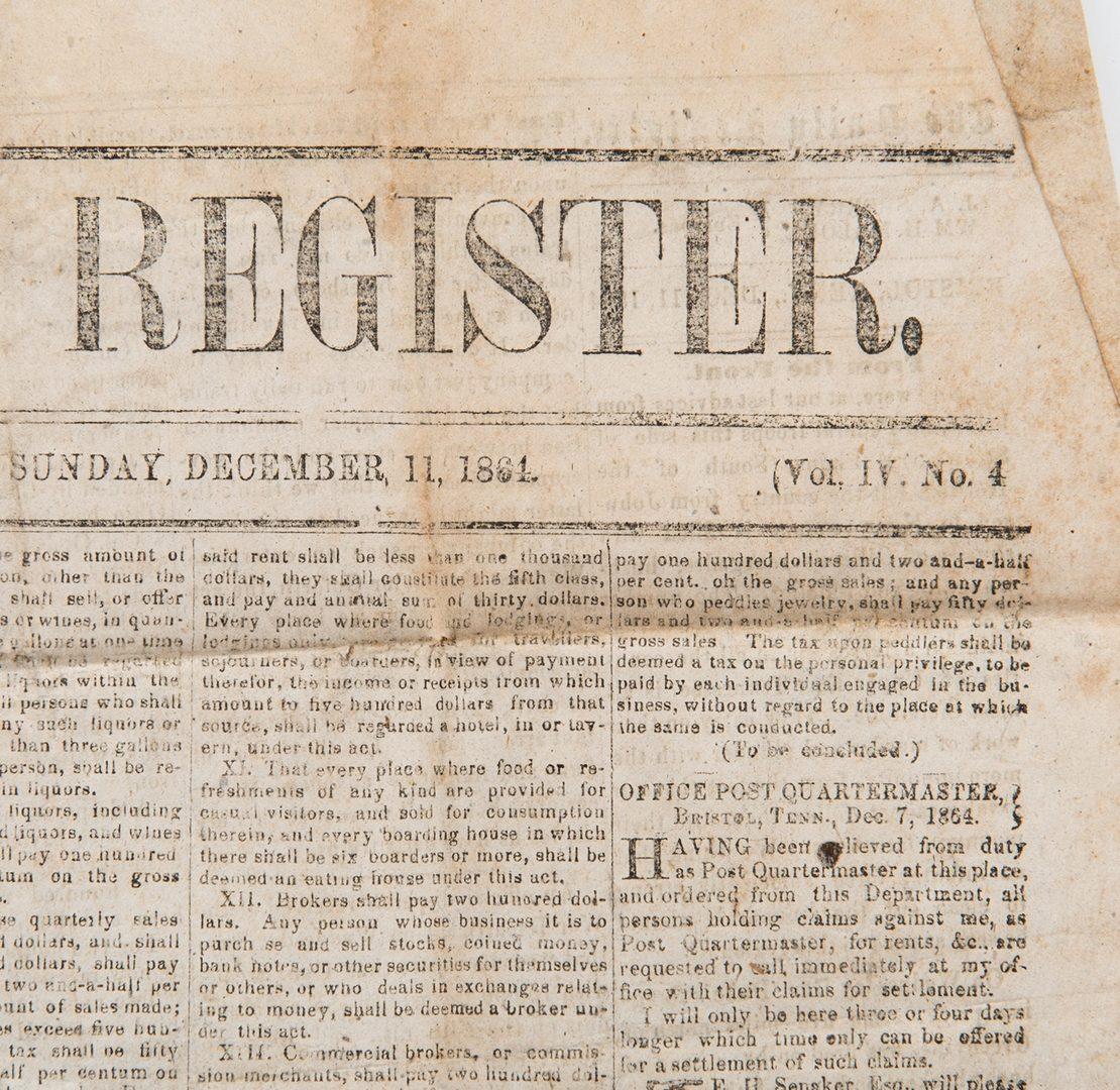 Lot 258: Knoxville Register Newspaper w/Battle of Franklin, Civil War News