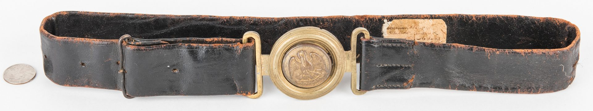 Lot 269: Confederate LA Officer's Sword Belt with Plate on Leather