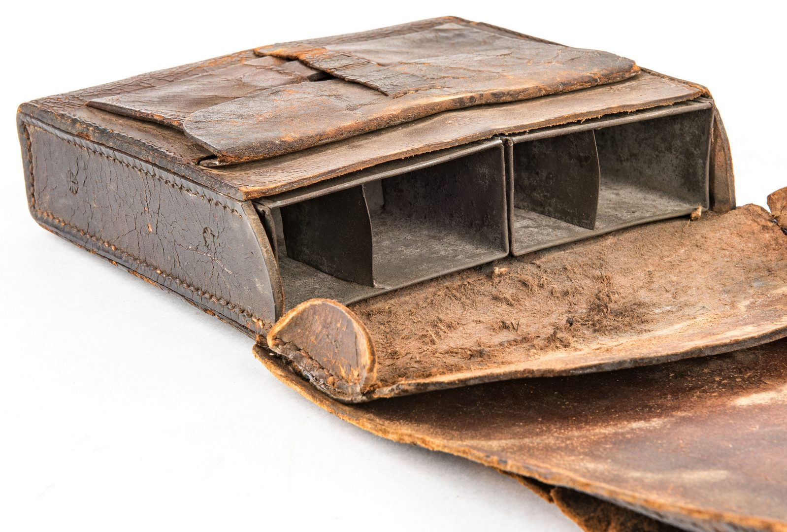 Lot 279: Confederate Arsenal Made Leather Cartridge Box with Leather Shoulder Sling