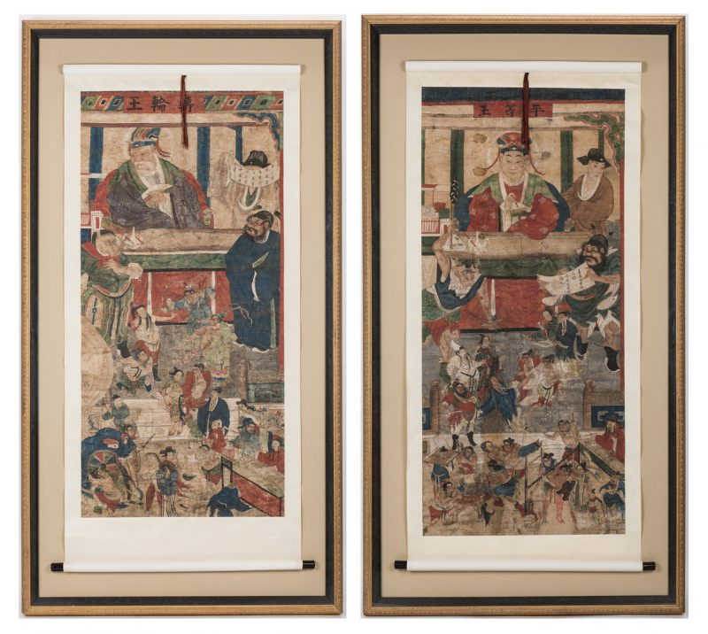 Lot 27: Two Framed Taoist Scrolls, Diyu (1st pair)