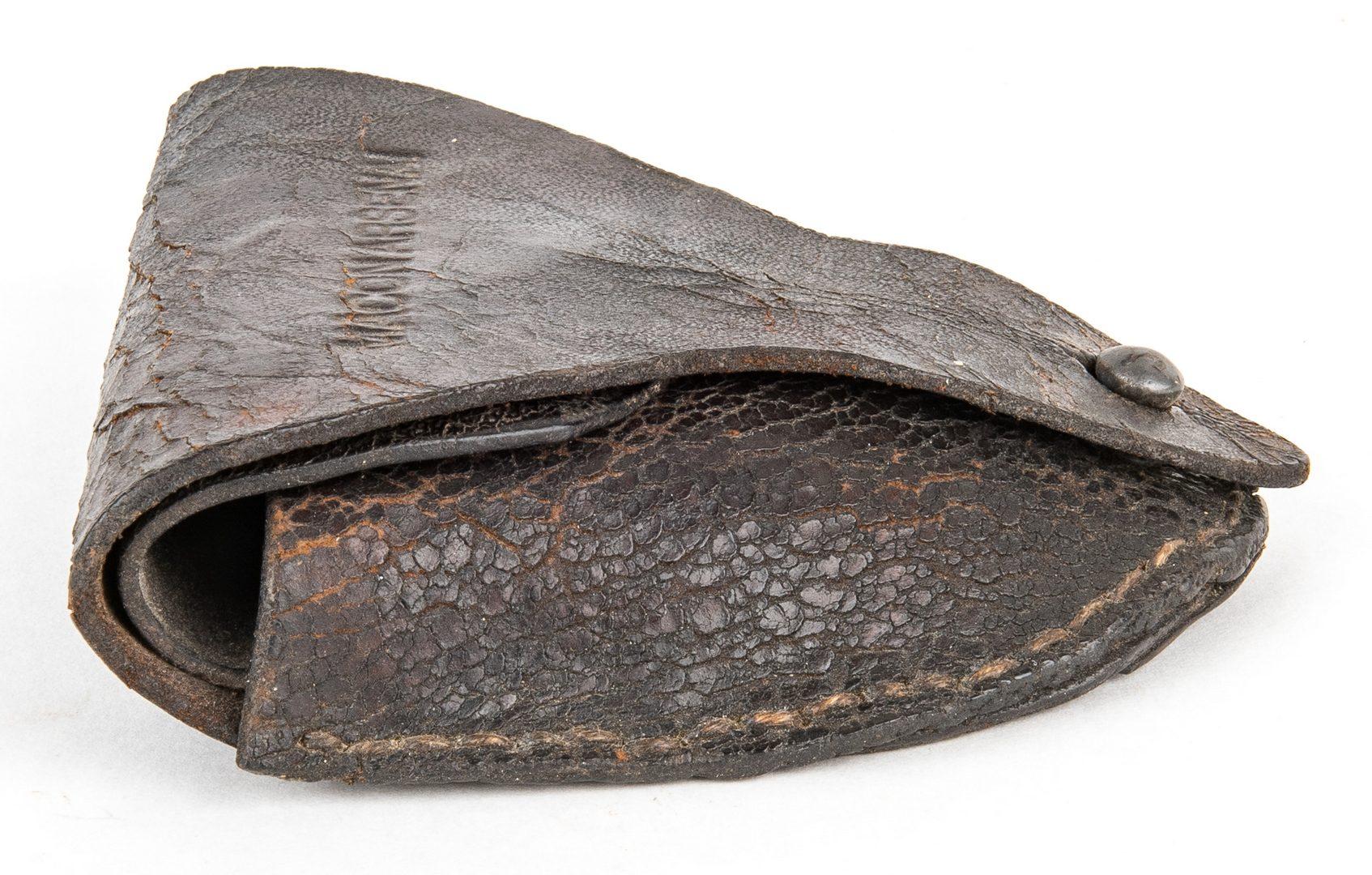 "Lot 287: Confederate Macon, GA Arsenal ""Mule Foot"" Leather Cap Box"