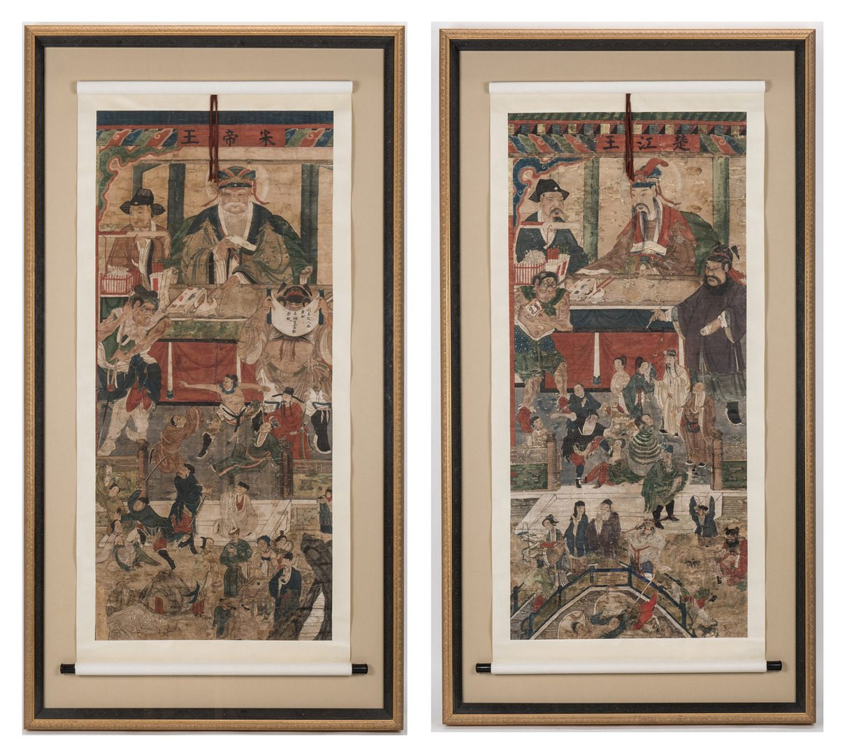 Lot 28: Two Framed Taoist Scrolls, Diyu (2nd pair)