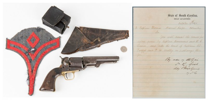 Lot 293: 5 Confederate Items, incl. Leather Holster/Cap Box, Chevron, Colt, ALS