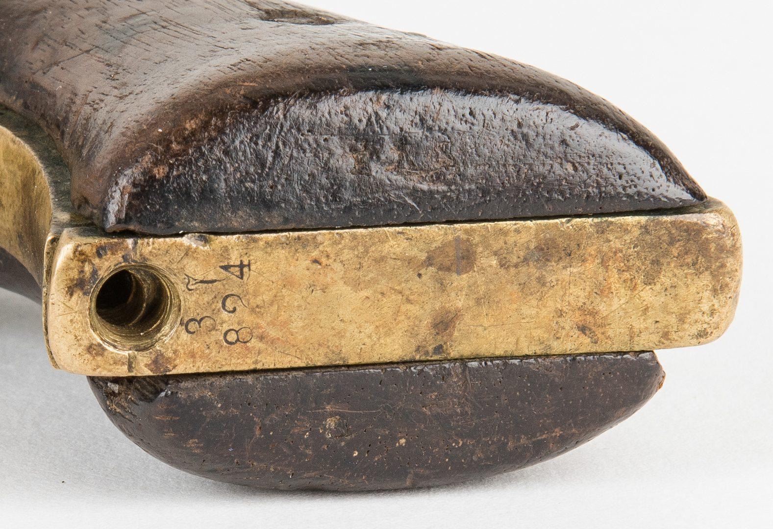 Lot 293: 5 Confederate Items, incl. Leather Holster/Cap Box, Chevron, Colt, ALS