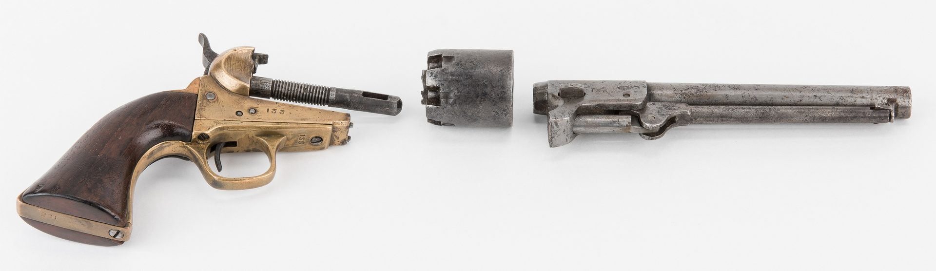 Lot 296: Confederate 1st Model Griswold revolver, SN 133